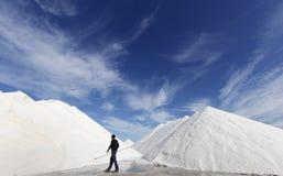 Salt mountains worker walking left Stock Images