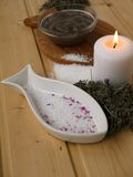 Salt,mud,candle and dry lavender Stock Images