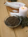 Salt,mud,candle and dry lavender Stock Photography