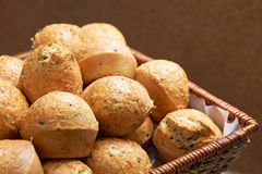 Salt muffins in basket Royalty Free Stock Photos
