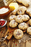 Salt oatmeal cookies with cheese and pepper Royalty Free Stock Photo