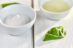 Salt and oil in pots Royalty Free Stock Images