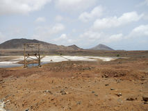 Salt pan on the Sal island, Cape Verde Royalty Free Stock Images