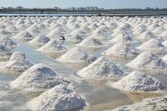 Salt pan or salt field. Landscape of salt farming field stock images