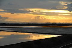 Salt pan sunset Stock Photography