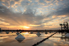 Salt pan sunset Royalty Free Stock Image