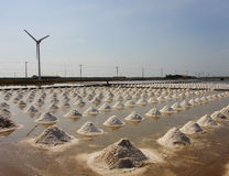 Salt pan and windmill at rural area,Thailand Royalty Free Stock Images