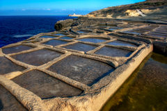 Salt panes on Gozo island. Manmade salt pools on a Gozo coastline Royalty Free Stock Images