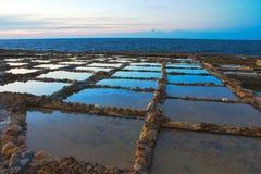 Salt pannasnitt in i vagga på kusten arkivbilder