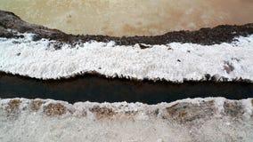 Salt Pans 4. Water channel at the Salinas Salt Pans, Inca Sacred Valley, Peru stock photography