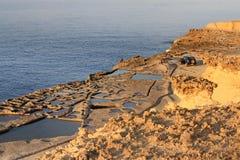 Salt pans. Salt evaporation ponds (salt pans) located near Qbajjar on the maltese Island of Gozo royalty free stock images