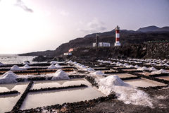 The salt pans in Fuencaliente, La Palma, Canary Islands. Natural sea salt, drying out in the salt pans of Fuencaliente, La Palma, Canary Islands Stock Photography