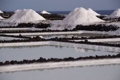 The salt pans in Fuencaliente, La Palma, Canary Islands. Natural sea salt, drying out in the salt pans of Fuencaliente, La Palma, Canary Islands Royalty Free Stock Images