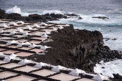 The salt pans in Fuencaliente, La Palma, Canary Islands. Natural sea salt, drying out in the salt pans of Fuencaliente, La Palma, Canary Islands Stock Images