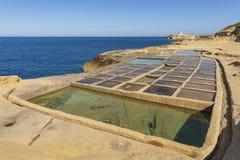 GOZO SALT PANS. THE SALT PANS OF GOZO ISLAND - MALTA stock photography