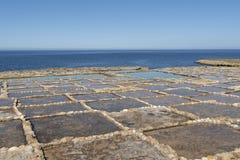GOZO SALT PANS. THE SALT PANS OF GOZO ISLAND - MALTA stock photo