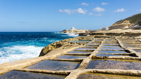 Salt pans Gozo. These 350-year-old salt pans, stretch about 3km along the coast Stock Image