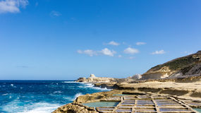 Salt pans Gozo. These 350-year-old salt pans, stretch about 3km along the coast Royalty Free Stock Photography