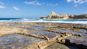 Salt pans Gozo. These 350-year-old salt pans, stretch about 3km along the coast Royalty Free Stock Images