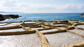 Salt pans Gozo. These 350-year-old salt pans, stretch about 3km along the coast Royalty Free Stock Photos