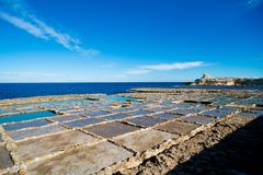 Salt pans malta gozo island. Salt pans at gozo island which is part of malta Stock Photos