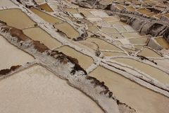 The salt pans of Maras. In the Sacred Valley of Peru royalty free stock photography