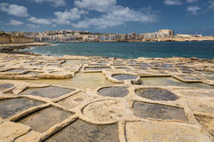 Salt pans in Marsaskala, Malta. Salt pans in Marsaskala on the island Malta, Mediterranean sea Royalty Free Stock Photo