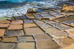 Salt pans in Marsaskala, Malta. Salt pans in Marsaskala on the island Malta, Mediterranean sea Royalty Free Stock Image