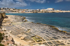 Salt pans in Marsaskala, Malta. Salt pans in Marsaskala on the island Malta, Mediterranean sea Royalty Free Stock Photos