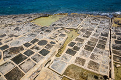 Salt pans in Marsaskala, Malta. Salt pans in Marsaskala on the island Malta, Mediterranean sea Royalty Free Stock Images
