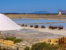 Trapani salt pans. Salt pans and a nature reserve at Mozia, near the town of Trapani in Sicily, Italy stock photography