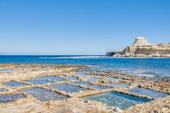 Salt pans near Qbajjar in Gozo, Malta. Royalty Free Stock Photos