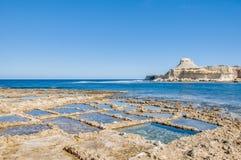 Salt pans near Qbajjar in Gozo, Malta. Stock Photo
