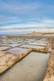 Salt pans near Qbajjar in Gozo, Malta. Royalty Free Stock Photography