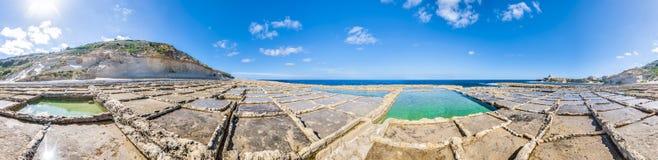 Salt pans near Qbajjar in Gozo, Malta. Stock Images