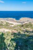 Salt pans near Qbajjar in Gozo, Malta. Royalty Free Stock Photo