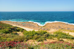 Salt pans near Zebbug, Gozo island, Malta Stock Image