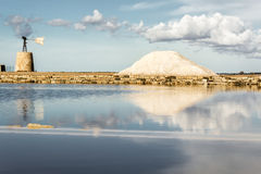 The salt pans of Nubia near Trapani (Sicily). Royalty Free Stock Photos