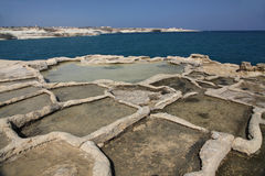 Salt pans, Peter's Pool, Malta. Ancient carved stone, salt pans at Peter's Pool, Malta Stock Photography
