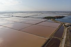 Salt pans and salt cultivation royalty free stock photos