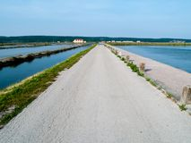 Salt pans of sicciole,Pirano,Slovenia,Europa. Sicciole salt pans in Slovenia europe during the spring with clear blue sky royalty free stock photo