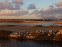 Salt Pans in Trapani. Salinas - Salt Pans in Trapani - Marsala stock photography