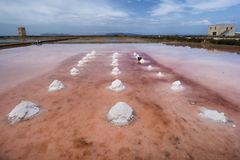 Salt pans in Trapani, Sicily. Italy Stock Photos