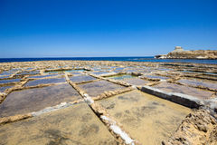Salt pans. Salt pans used for harvesting sea salt. Xwejni Bay, Gozo island, Malta Stock Photography