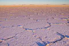 Salt pattern at sunrise - Salar de Uyuni, Bolivia. Salar de Uyuni: The sunrise at the salt lake creates a beautiful pattern. In the distance a jeep is driving Royalty Free Stock Photos