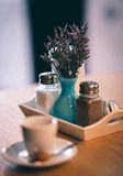 Salt and Peper on the restoran table. Coffee shop table Royalty Free Stock Photos