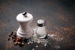 salt peppar kulinarisk bakgrund Fotografering för Bildbyråer