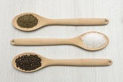 Salt, peppar och oreganon Arkivfoto