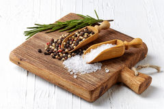 Salt, peppar och rosmarinus Royaltyfri Fotografi