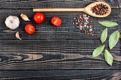 Salt, peppar, vitlök och en sked på en svart träbakgrund Royaltyfri Bild
